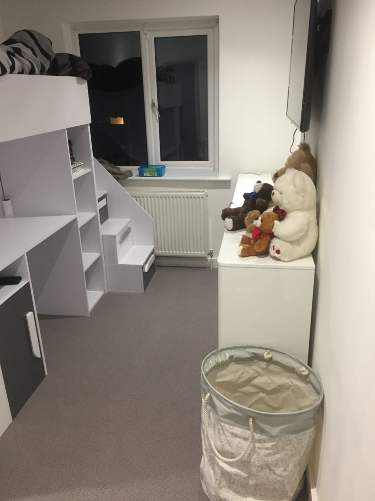 picture of a childs white and grey bunkbed