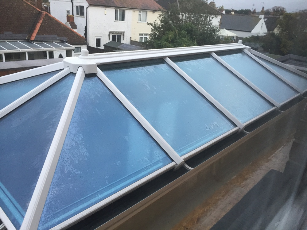 picture of the extension roof with the glass pitched roof